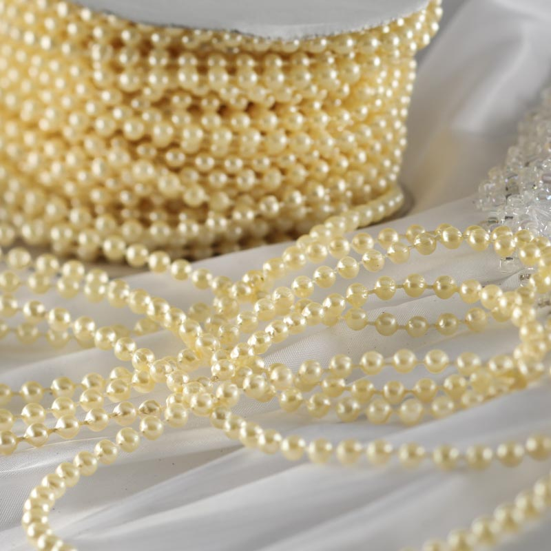 Pearl Garland For Christmas Tree: Ivory Fused String Pearl Beads