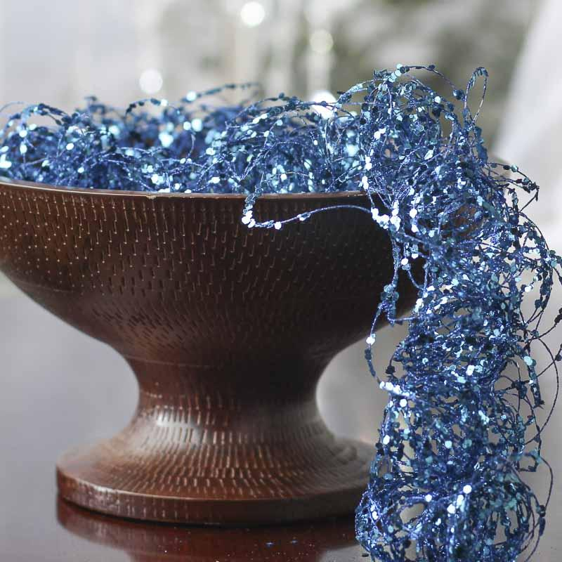 Blue Glitter and Sequin Twisted Wire Garland - Vase and ...