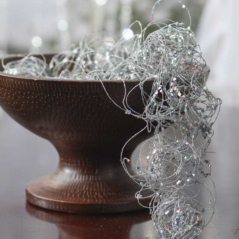 silver glitter and sequin twisted wire garland