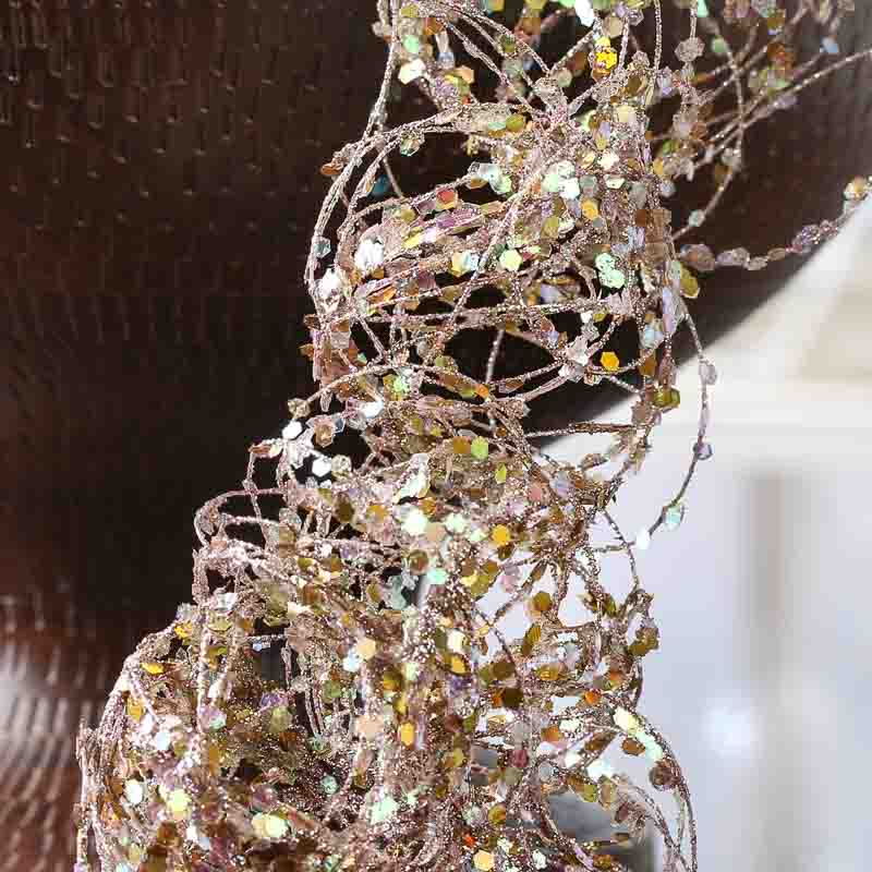 Platinum Glitter And Sequin Twisted Wire Garland