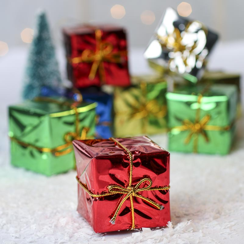 Assorted Foil Gift Boxes Christmas Ornaments Christmas