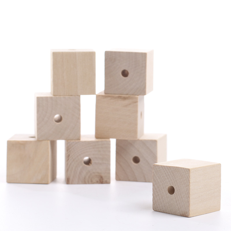 Square Unfinished Wood Beads Wood Beads Wood Crafts