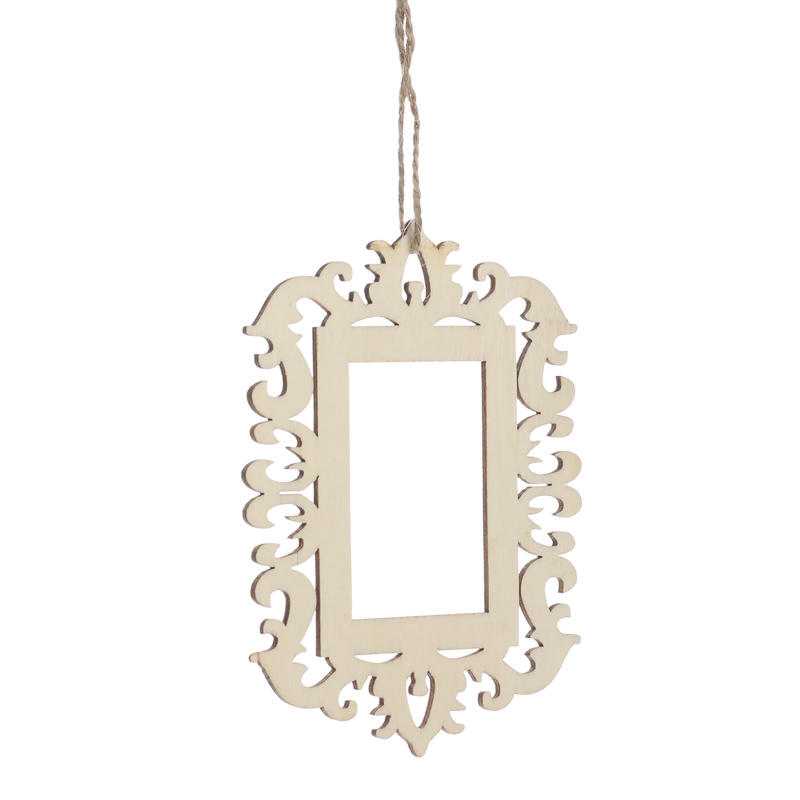 Laser cut unfinished wood picture frame ornament wood for Photo frame ornament craft