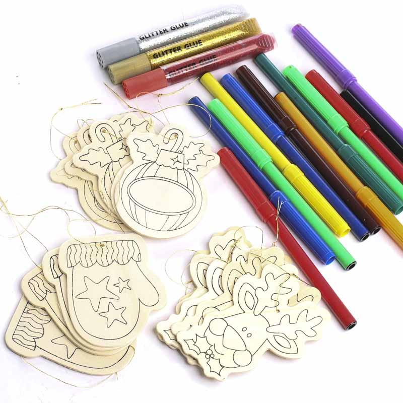 Wood cutout ornaments kid 39 s craft kit kids craft kits for Wood craft supply stores