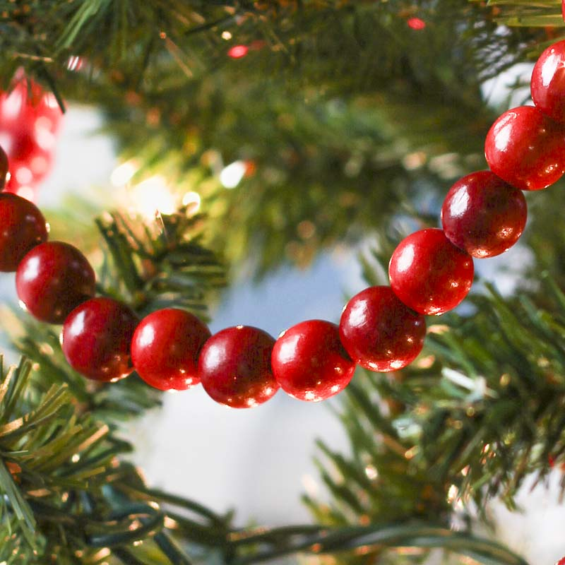 Click Here For A Larger View - Burgundy And Cranberry Red Wooden Bead Garland - Christmas Garlands