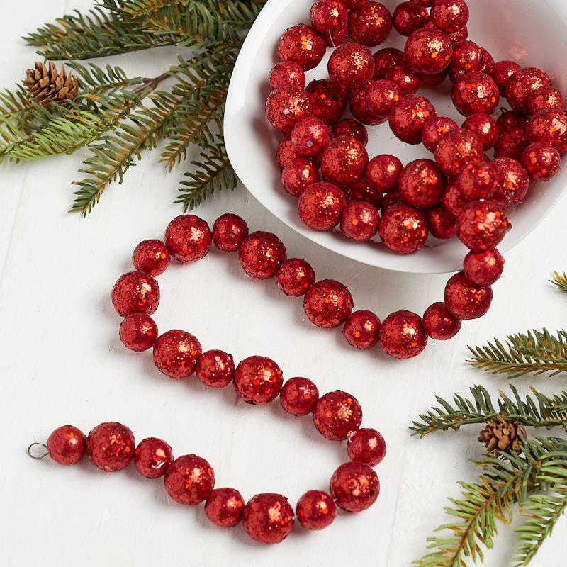 Christmas Ball Garland.Red Glittered Ball Garland