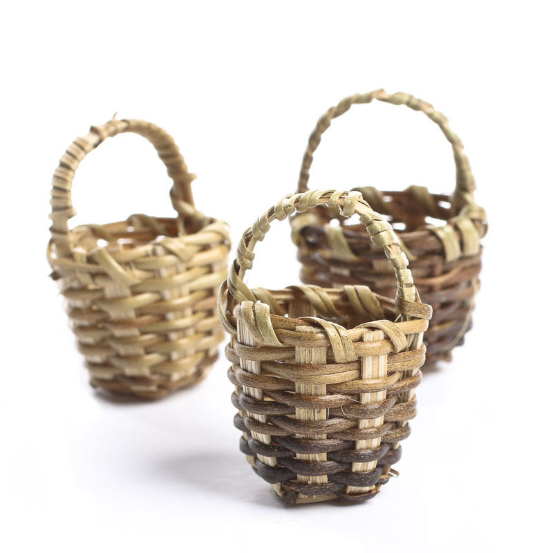 Dollhouse Miniature Wicker Baskets Kitchen Miniatures