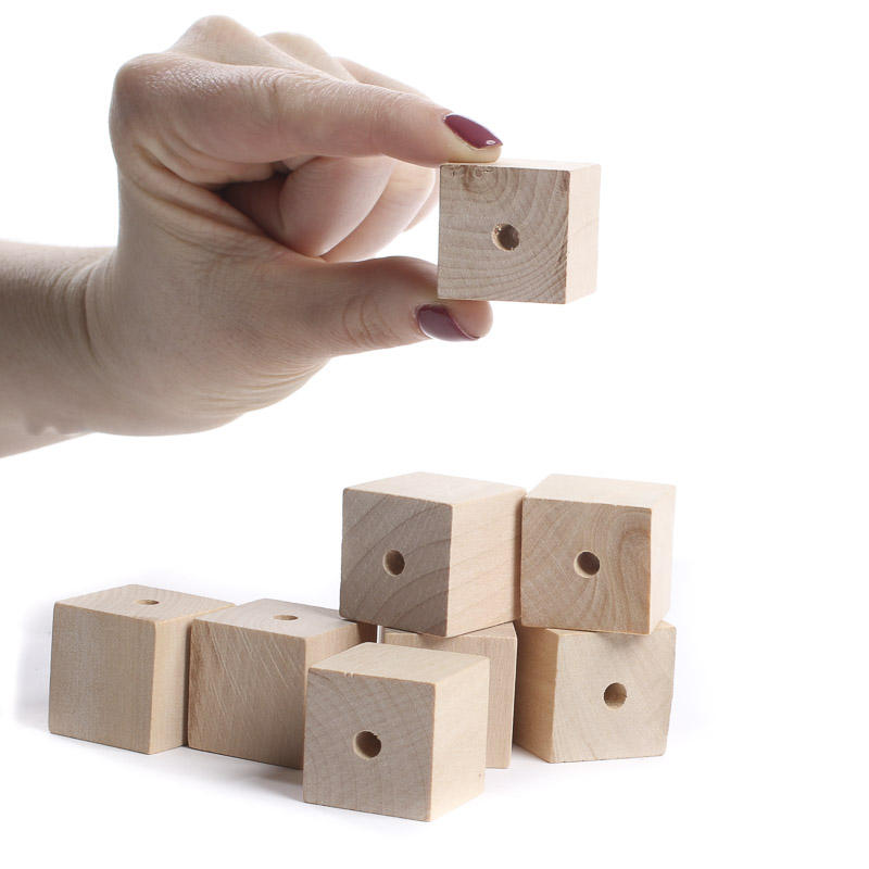 Square unfinished wood beads wooden cubes unfinished for Wood craft supply stores