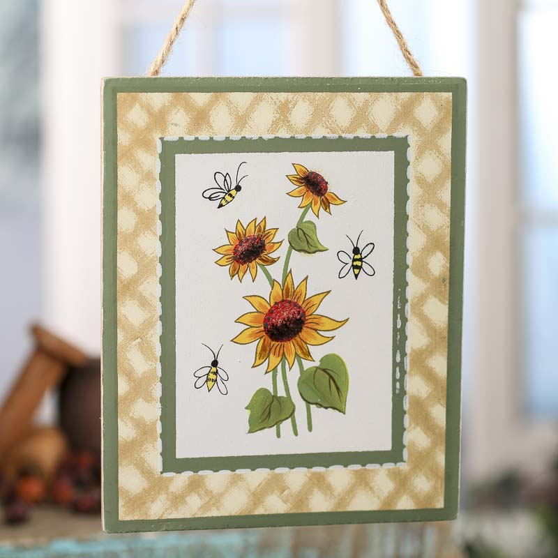 Sunflower and bees painted wood sign home decor for Sunflower home decor