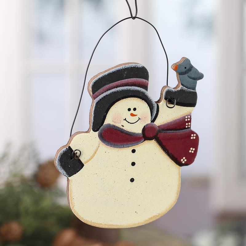 Primitive Wood Snowman Ornament