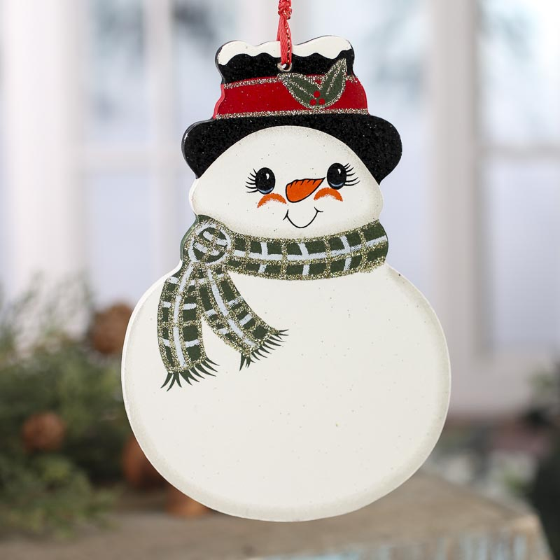 Snowman with Scarf Wood Ornament - Signs & Ornaments ...