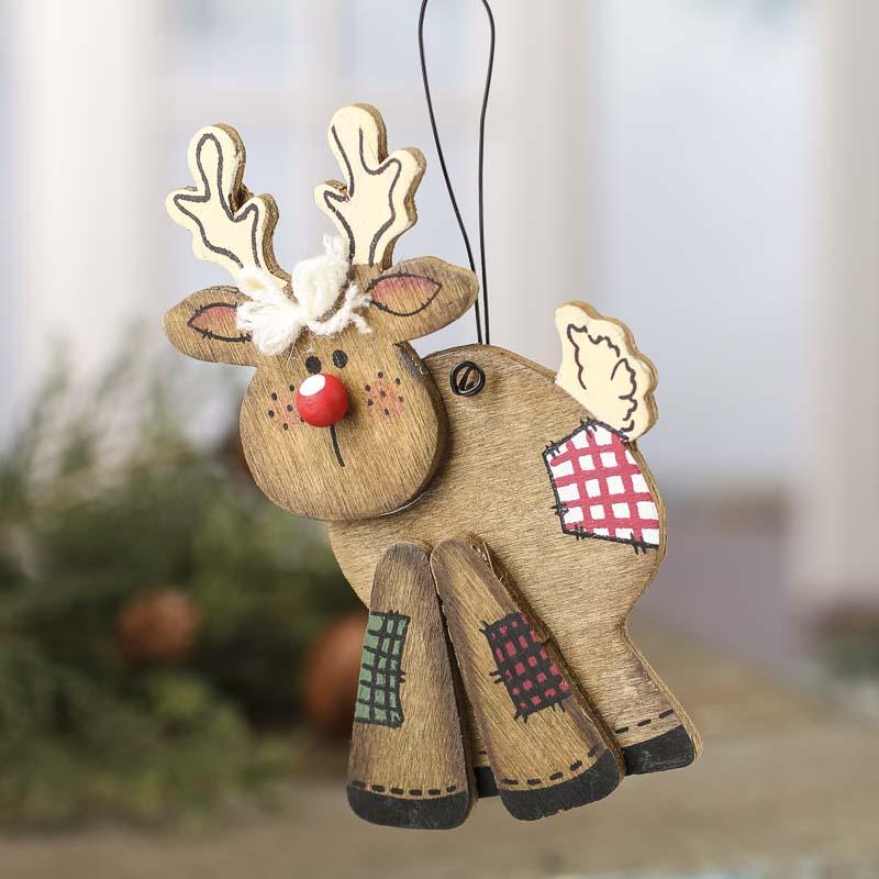 Primitive Wood Reindeer Ornament