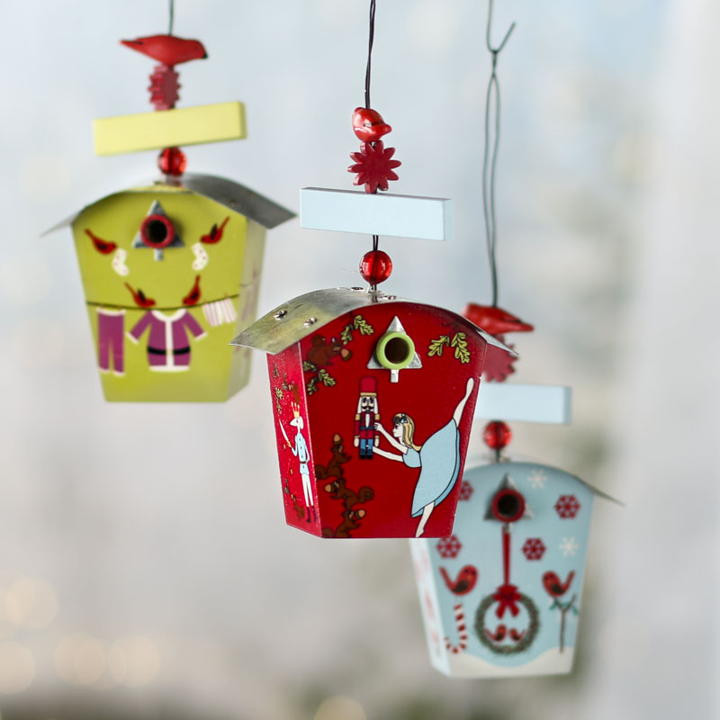 Set of christmas birdhouse ornaments christmas and for Christmas ornaments sale