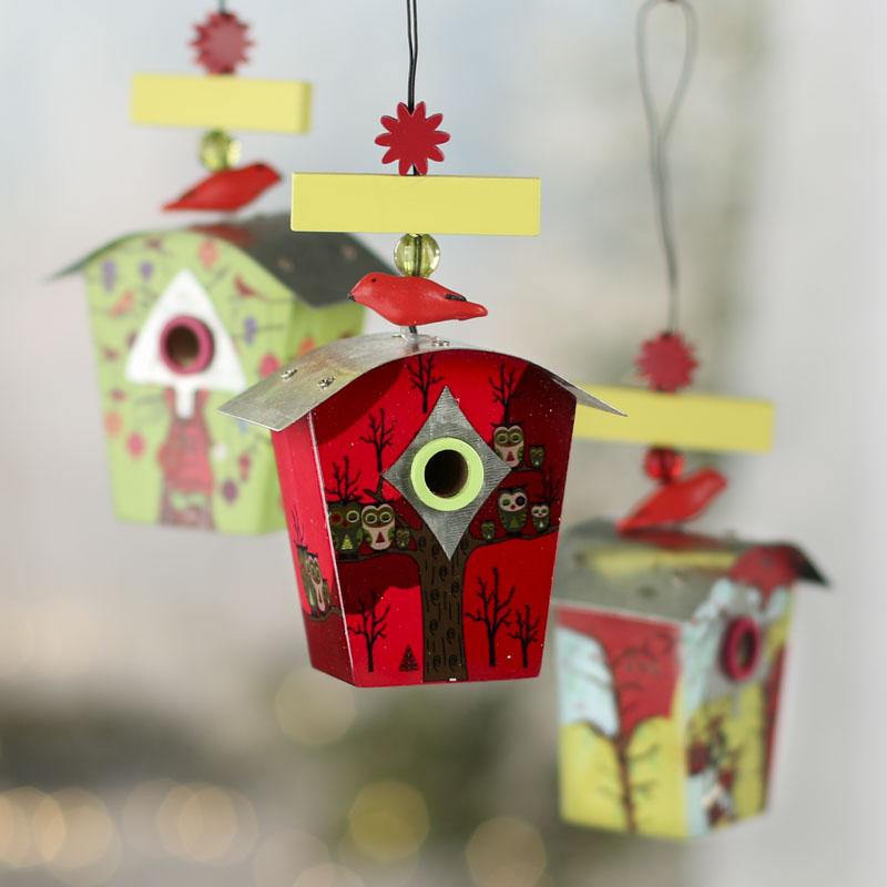 Christmas Birdhouses.Set Of Christmas Birdhouse Ornaments