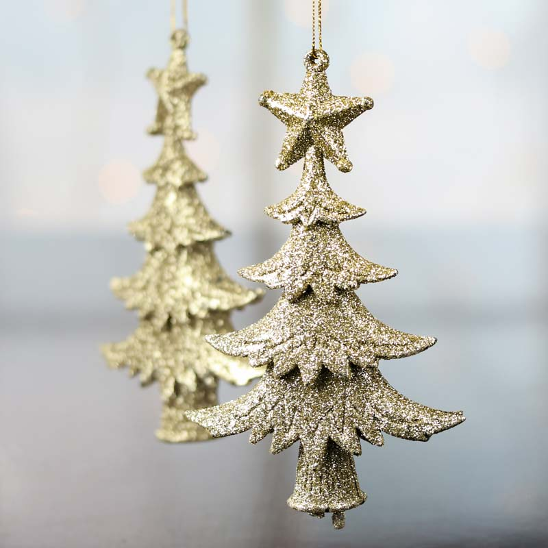 Gold glittered christmas tree ornaments