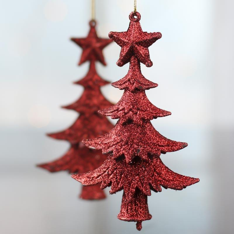 Red glittered christmas tree ornaments christmas and for Christmas ornaments sale