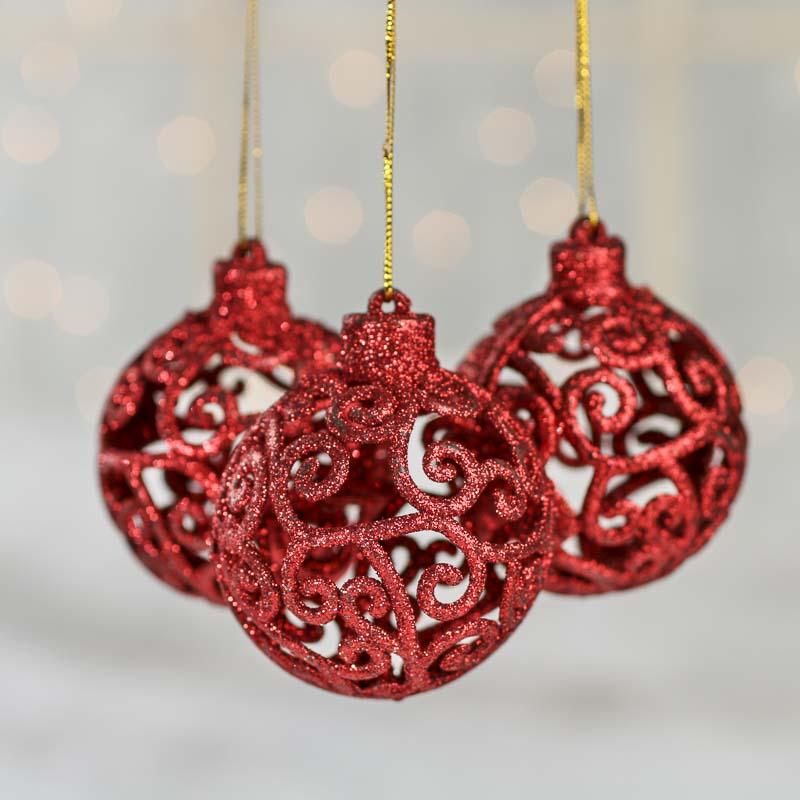 Red glittered mesh scroll ball ornaments