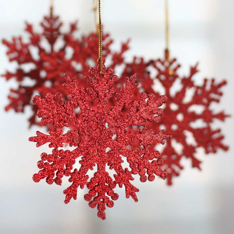 Red Glittered Snowflake Ornaments - Christmas Ornaments ...