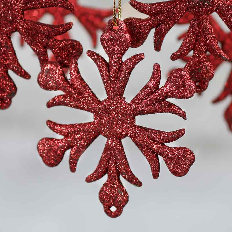 red glittered snowflake ornaments - snow