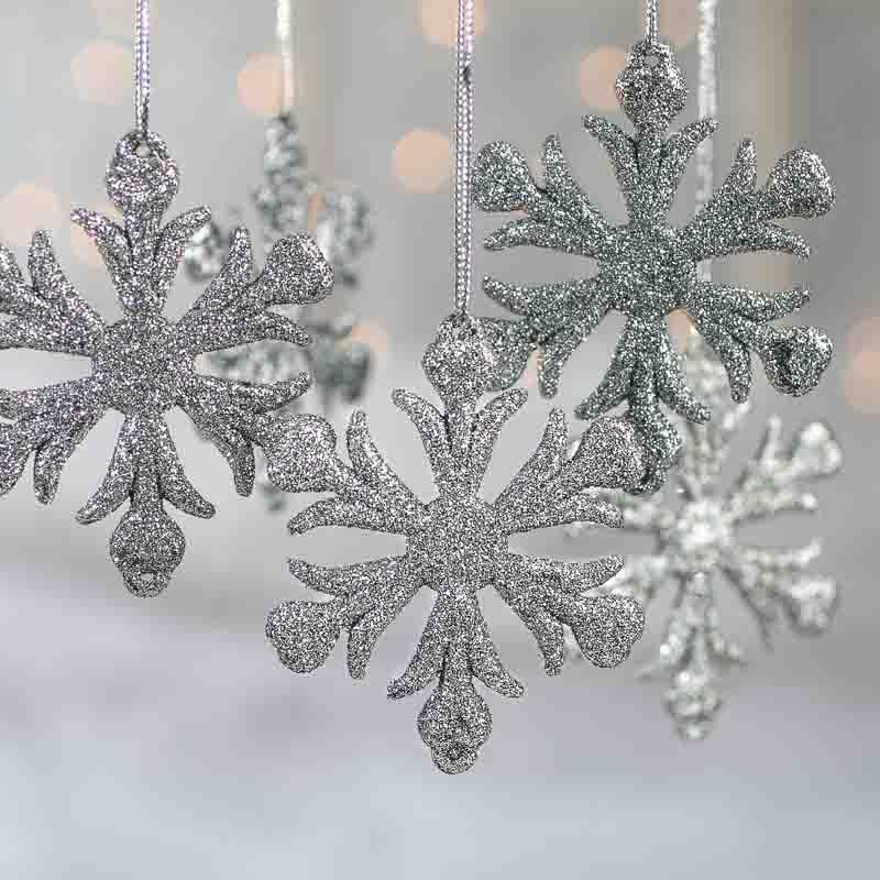 silver glittered snowflake ornaments - snow