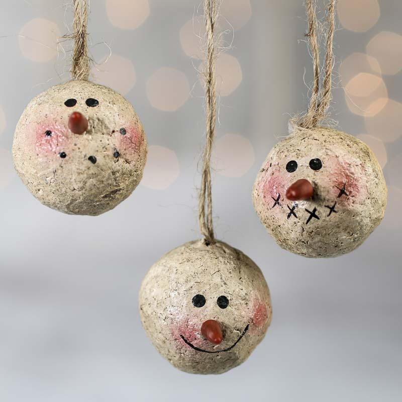 Primitive Snowman Head Ornaments Christmas Ornaments