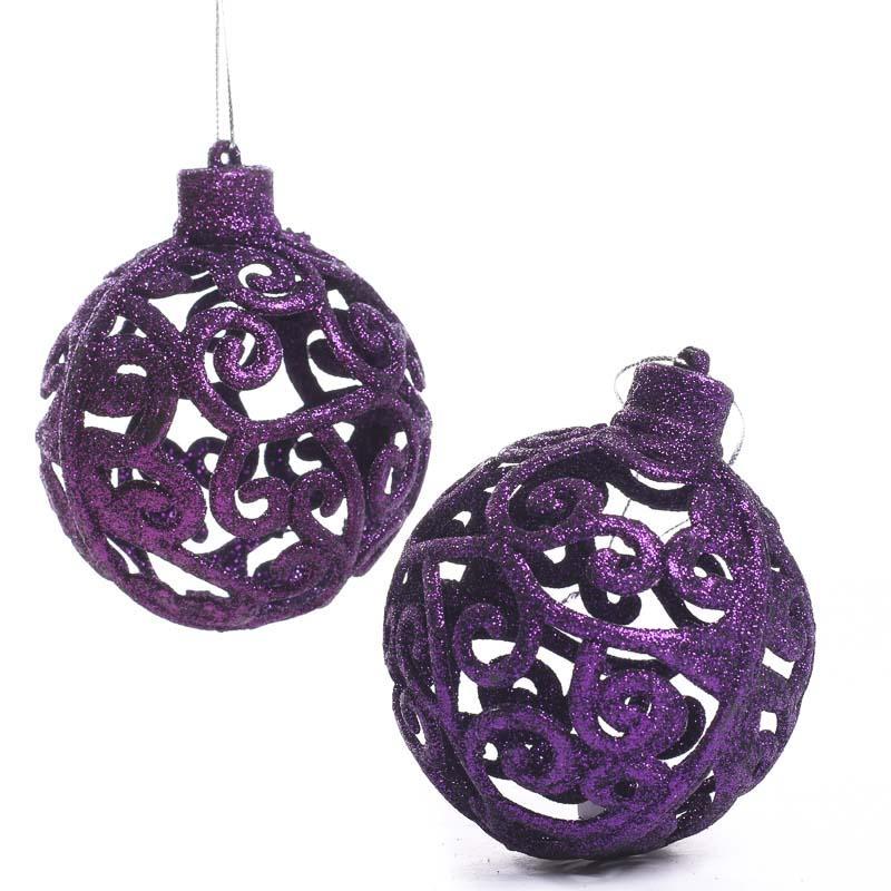 Purple Glittered Mesh Scroll Ball Ornaments