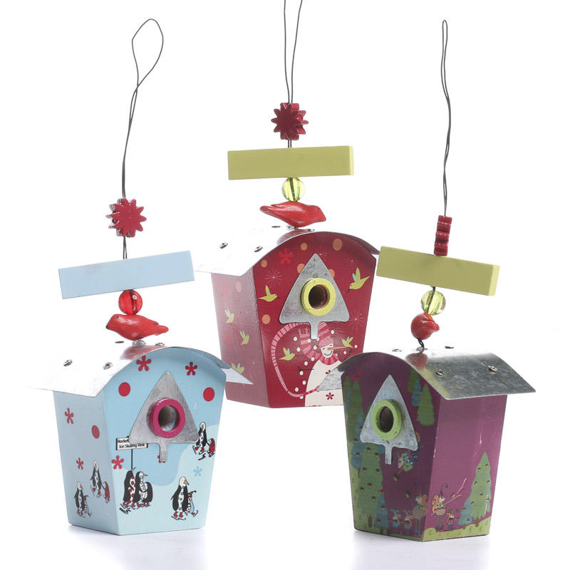 Set of christmas birdhouse ornaments birds and for Christmas ornaments sale