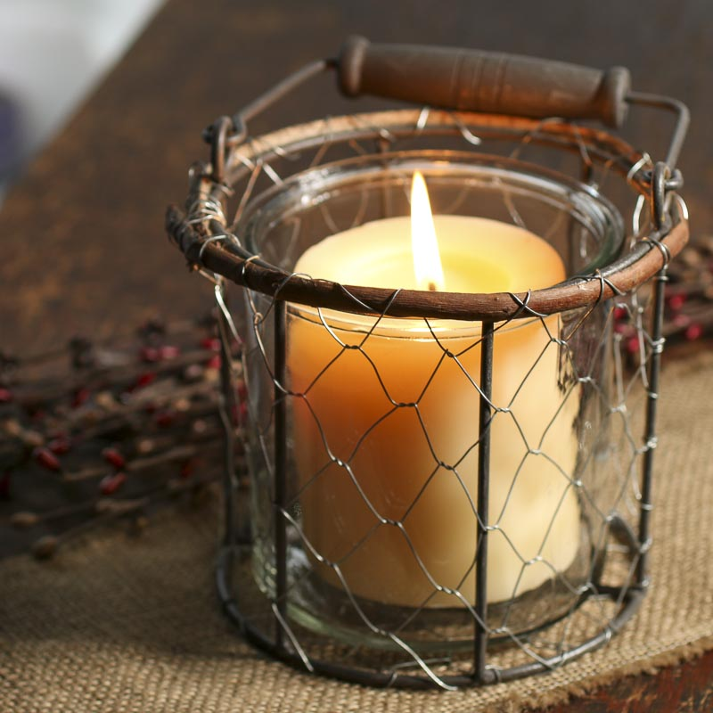 Rustic Chicken Wire And Glass Candle Holder