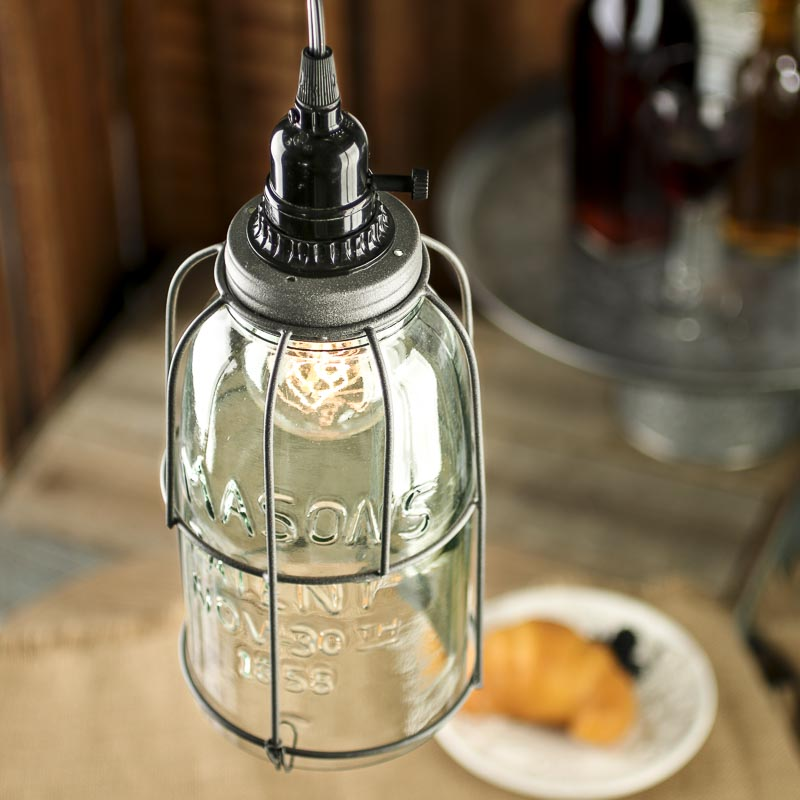 Large Mason Jar Pendant Lamp Kit Lighting Primitive