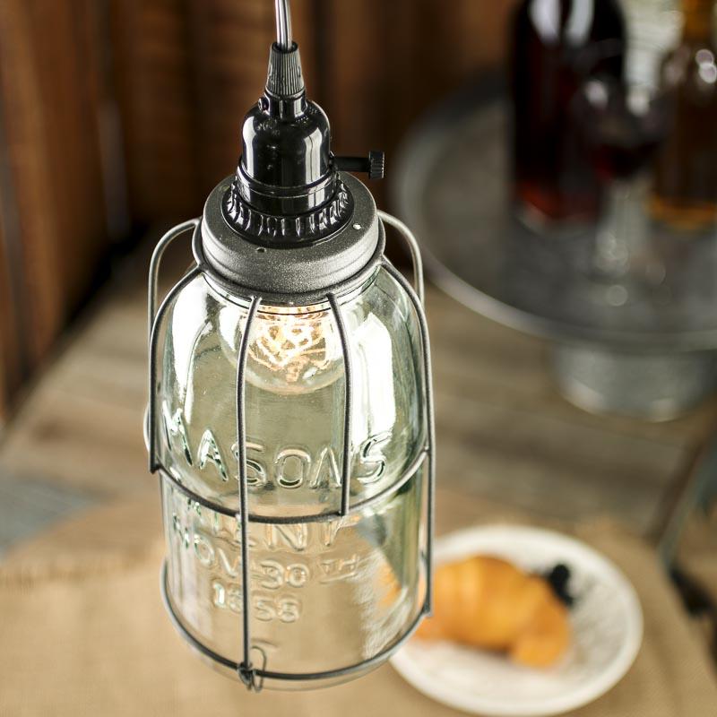 large mason jar pendant lamp kit lighting primitive decor. Black Bedroom Furniture Sets. Home Design Ideas