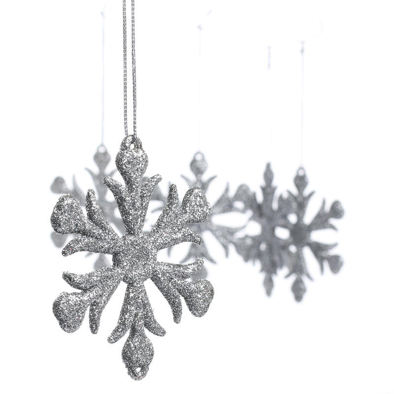 silver glittered snowflake ornaments - snow