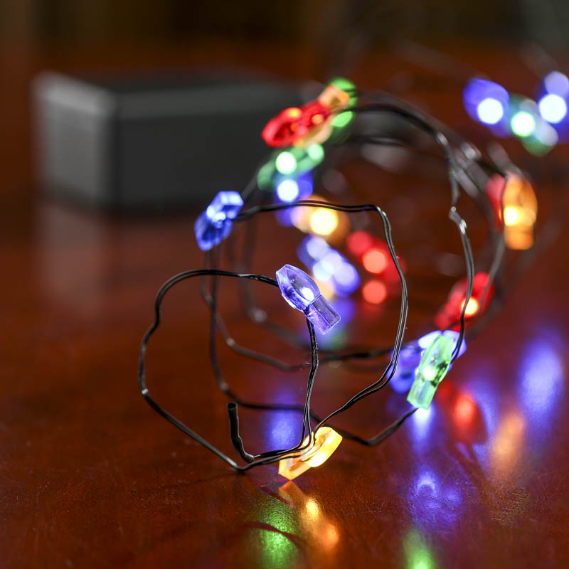 Led String Lights For Crafts : Battery-Operated Christmas Bulb Black Wire LED String Lights - Lighting - Christmas and Winter ...