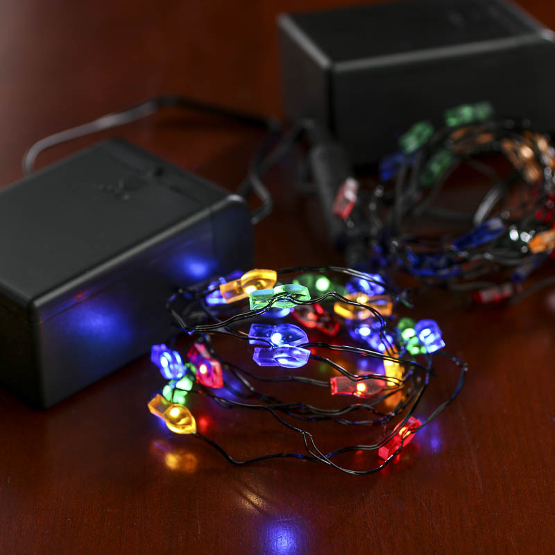 Battery operated christmas bulb black wire led string for Led craft lights battery