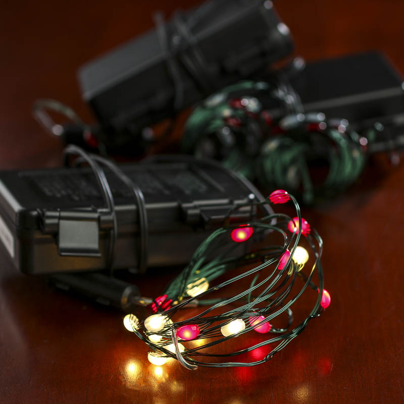 Battery operated clear and red bulb green wire led string for Led craft lights battery