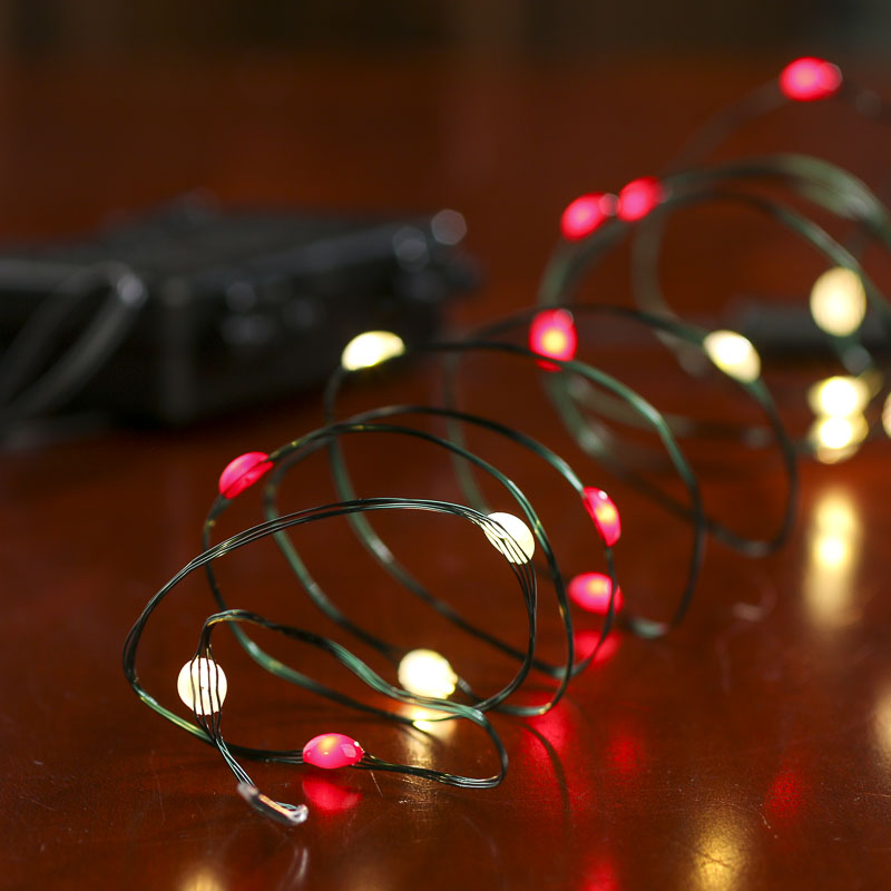 Green Holiday String Lights : Battery-Operated Clear and Red Bulb Green Wire LED String Lights - Lighting - Christmas and ...