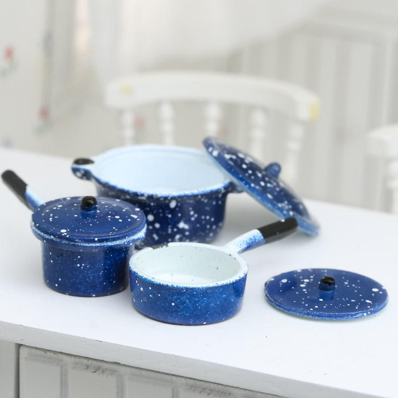 Dollhouse Miniature Blue Pots And Pans Kitchen