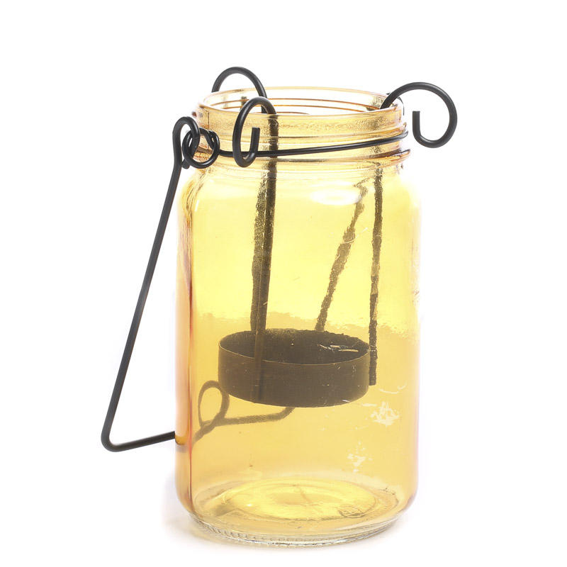 amber mason jar tea light candle holder decorative accents primitive decor. Black Bedroom Furniture Sets. Home Design Ideas