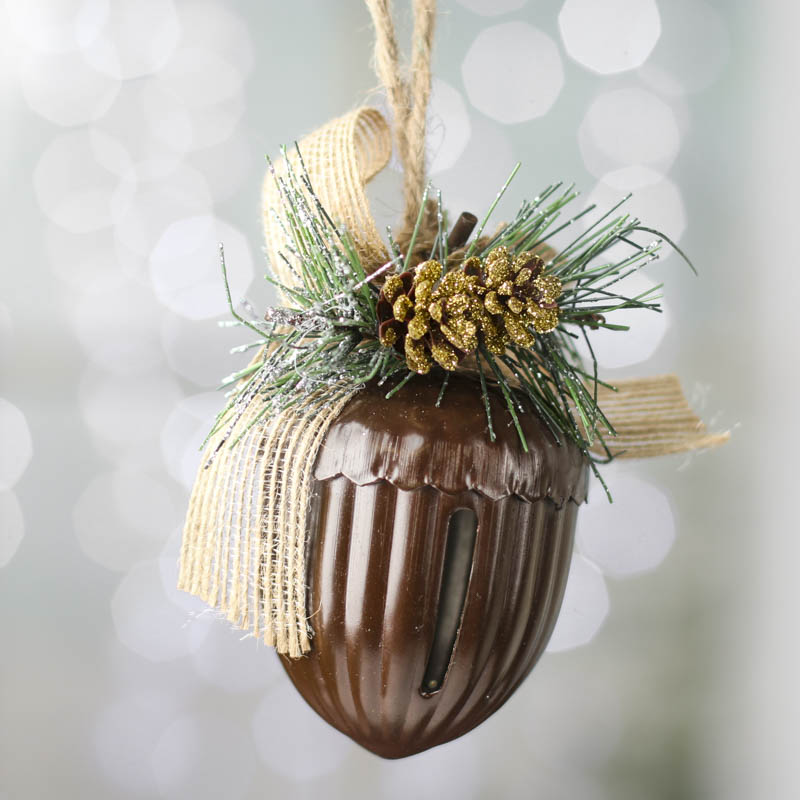 Rustic holiday acorn bell ornament decorative accents for Acorn decoration