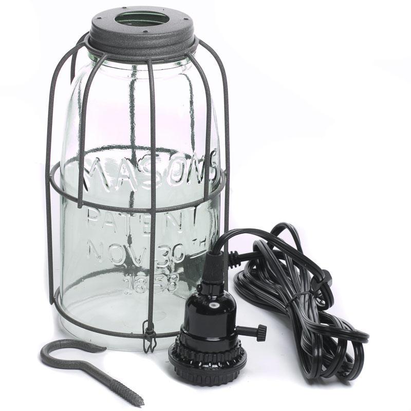 Large Mason Jar Pendant Lamp Kit Lighting Primitive Decor