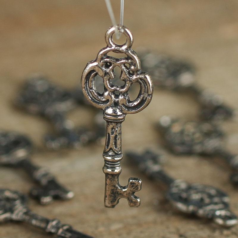 Silver Skeleton Key Charms - Charms & Pendants - Jewelry ...