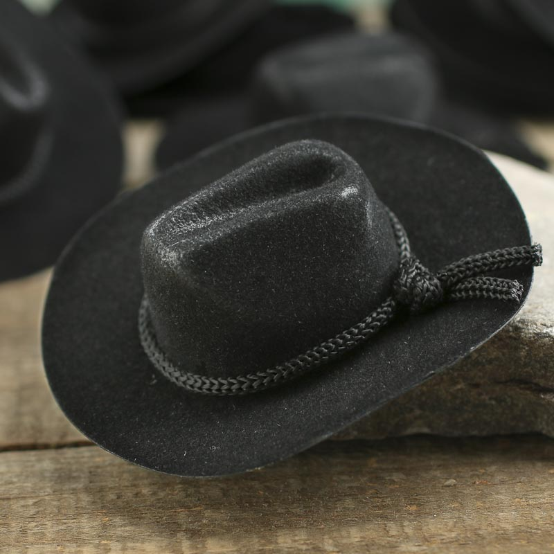 Miniature black flocked cowboy hats doll hats doll for Tiny cowboy hats for crafts