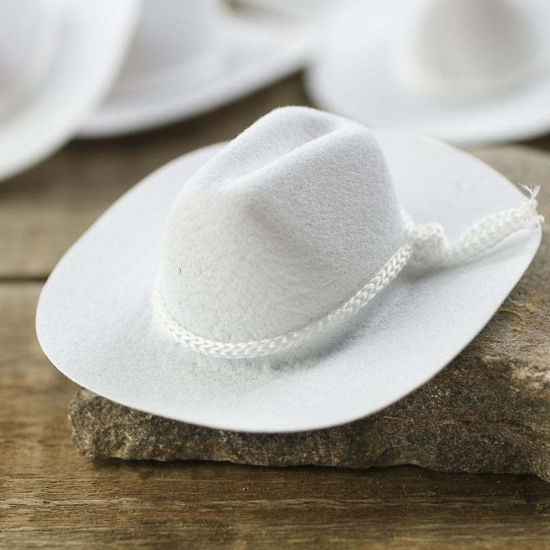 Miniature white flocked cowboy hats doll hats doll for Tiny cowboy hats for crafts