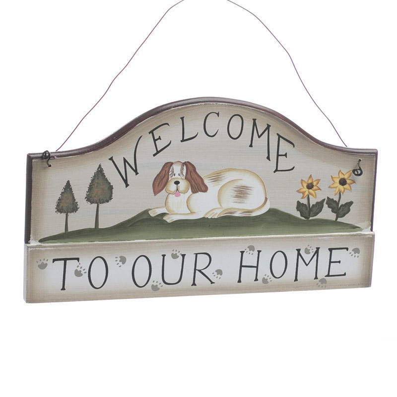 Welcome welcome to our home dog wood ornament sign for Dog decorations for home