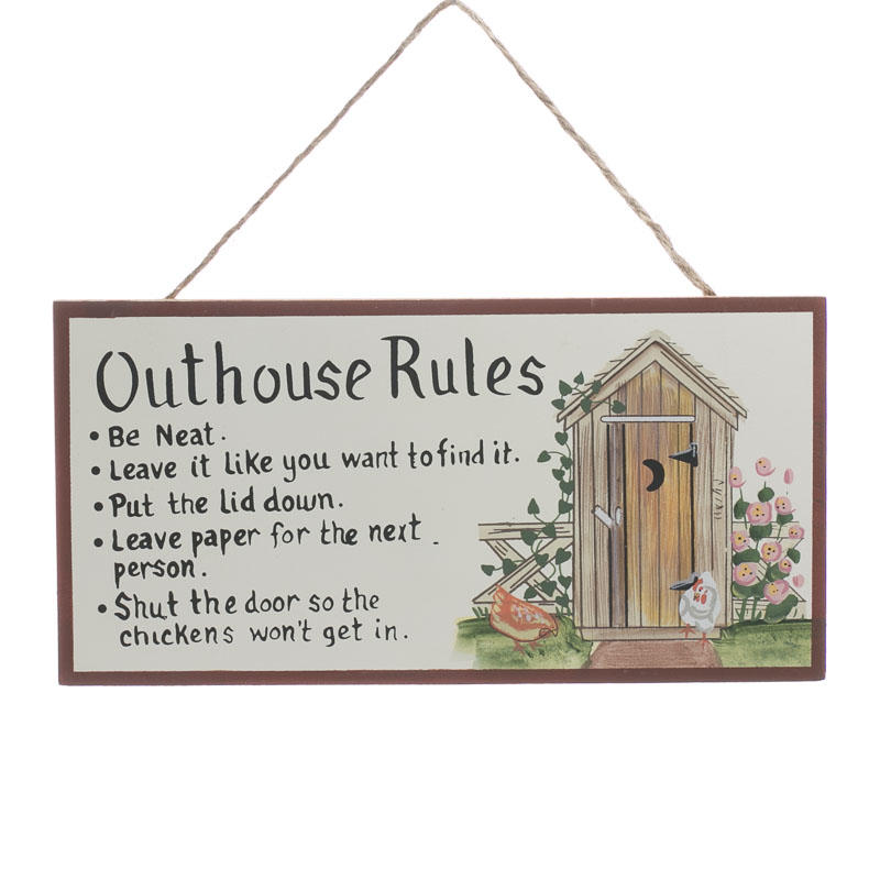 Outhouse Rules Sign Signs Ornaments Home Decor