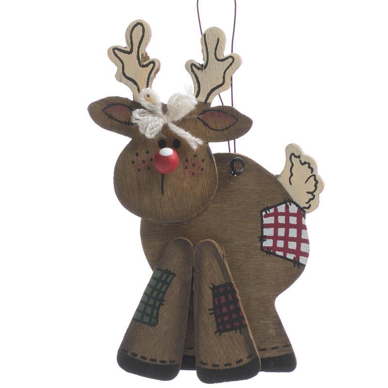 Primitive wood reindeer ornament christmas ornaments