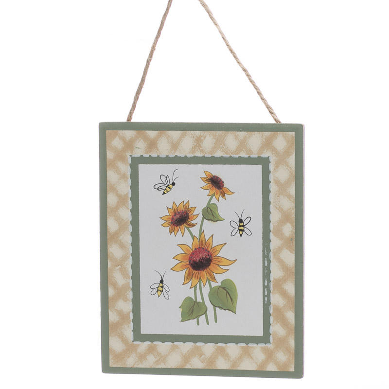 Sunflower And Bees Painted Wood Sign