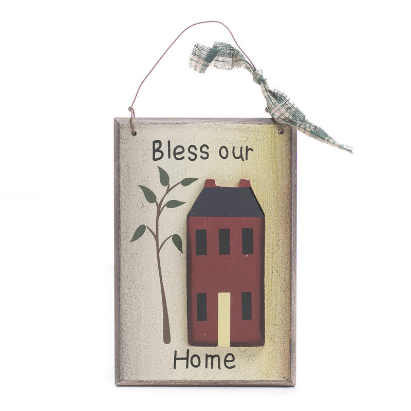 Primitive wood bless our home sign home decor for Our home decor