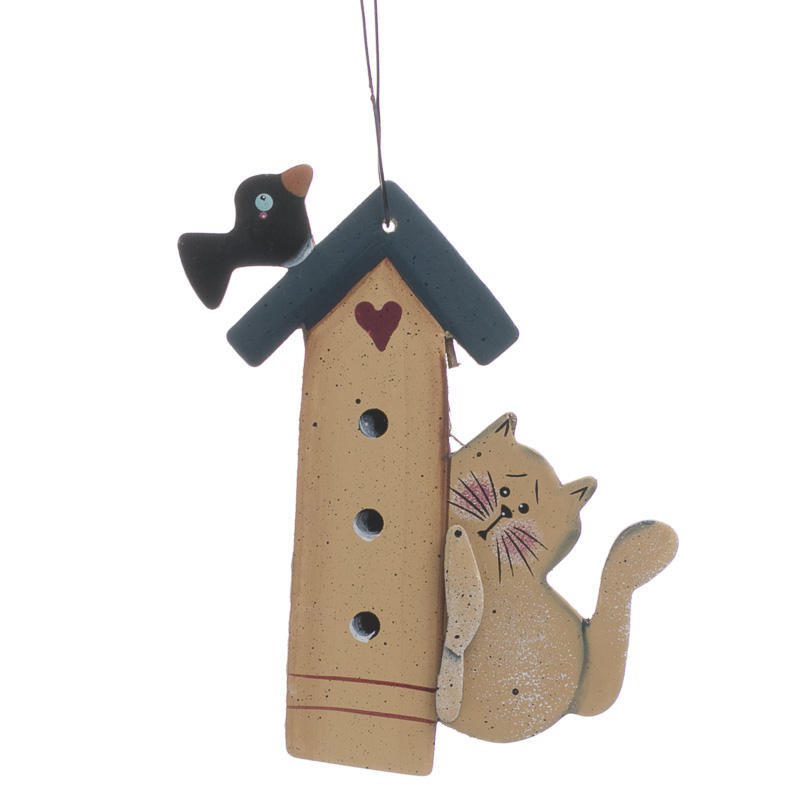 Birdhouse With Cat Wooden Ornament