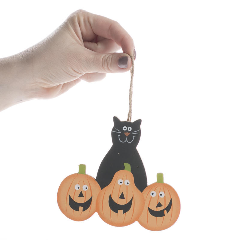 Halloween cat with pumpkins ornament signs ornaments for Cat decorations home