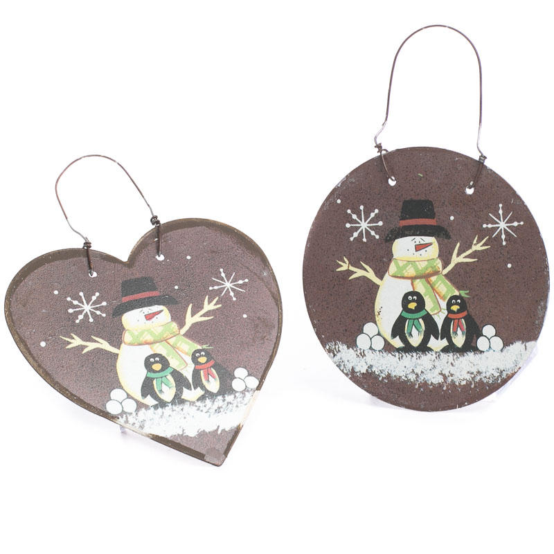 rustic snowman and penguin ornament signs ornaments